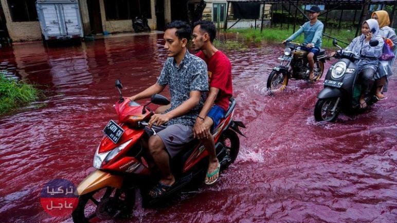 مياه حمراء بلون الدم تجتاح شوارع قرية إندونيسية ما القصة؟! (فيديو)