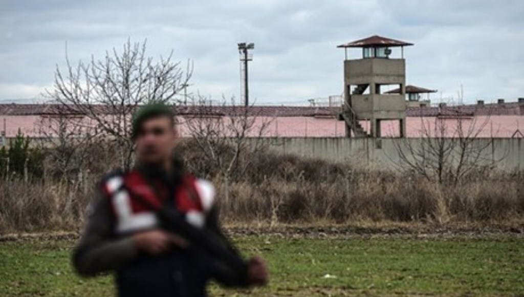 A soldier stands guard outside the Edirne prison.
