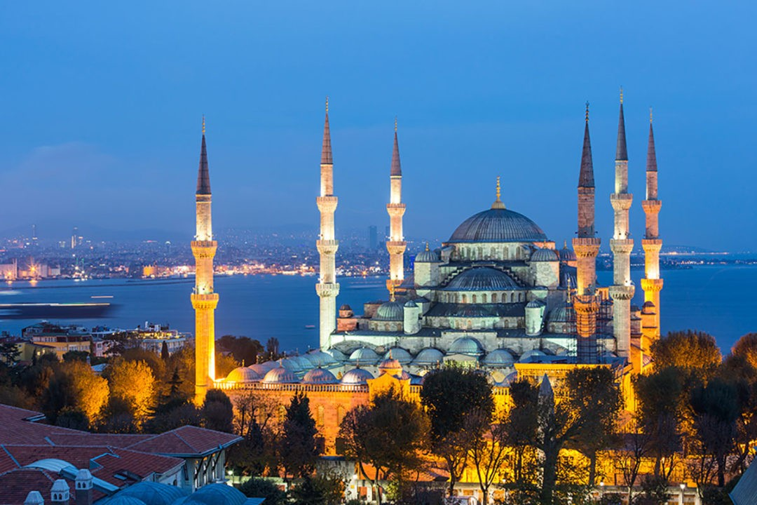 Aerial view of Blue Mosque in Istanbul at night