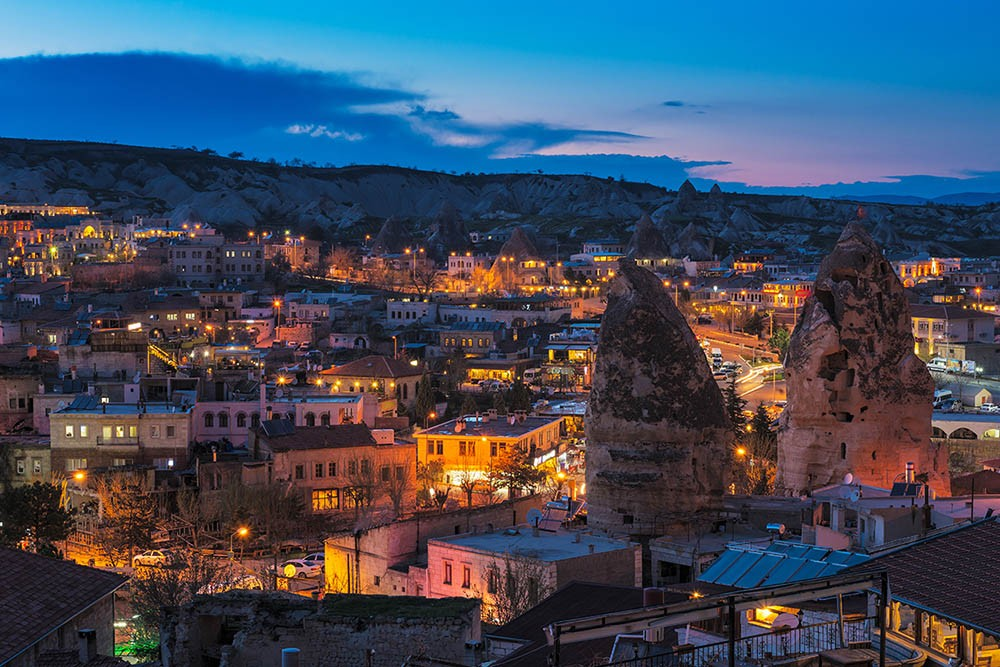 Goreme ancient city view after twilight, Cappadocia