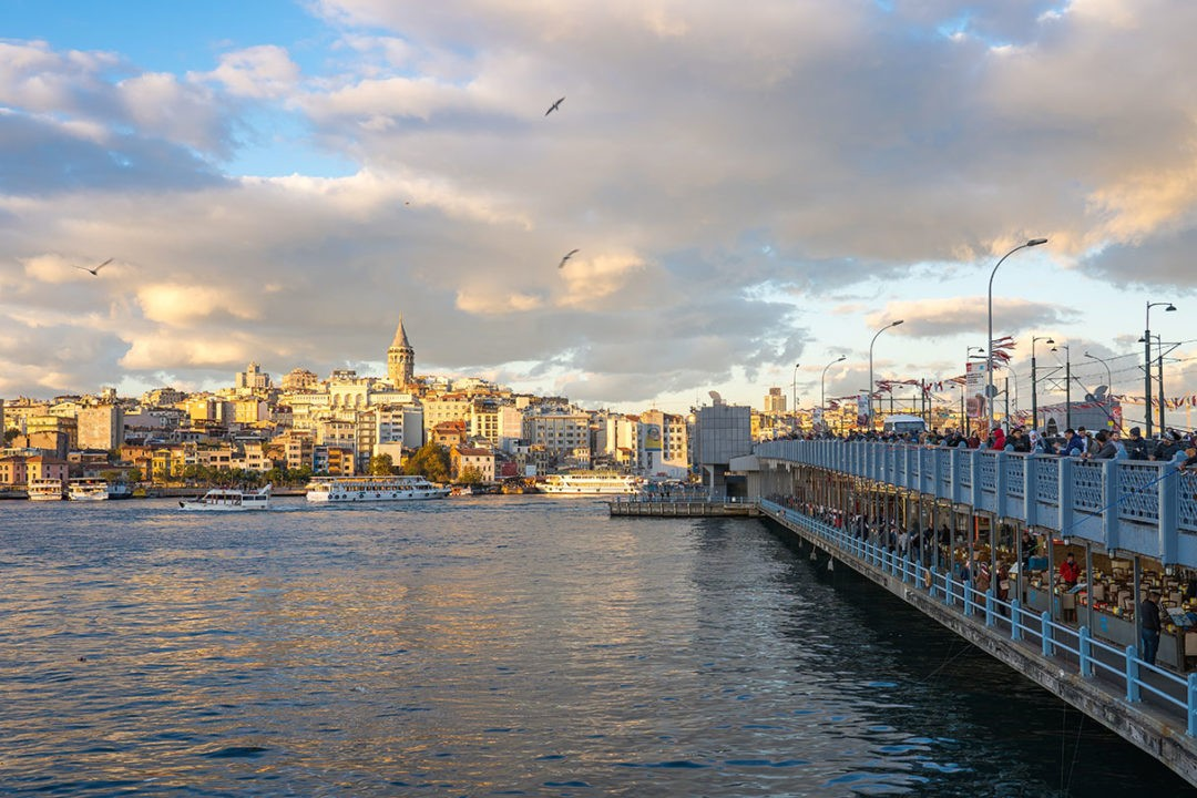 skyline with view of Galata Tower in Istanbul city