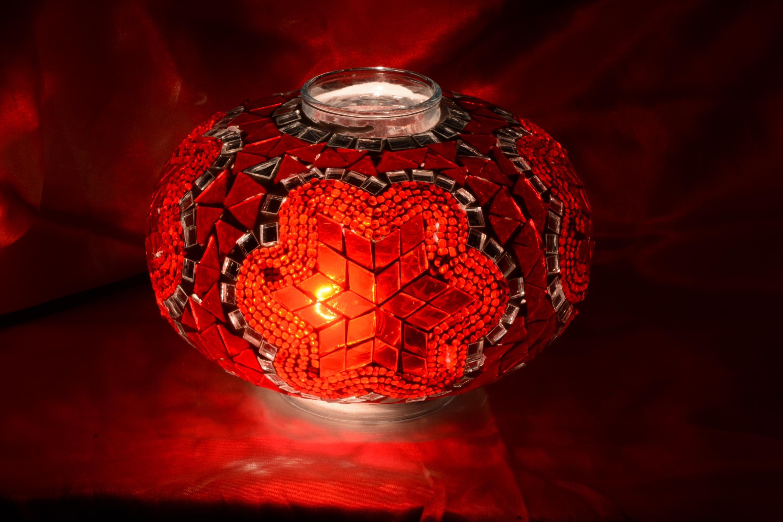 Size 3 mosaic glass lamp