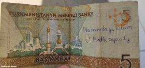 В Туркменистане появились купюры с антиправительственными надписями