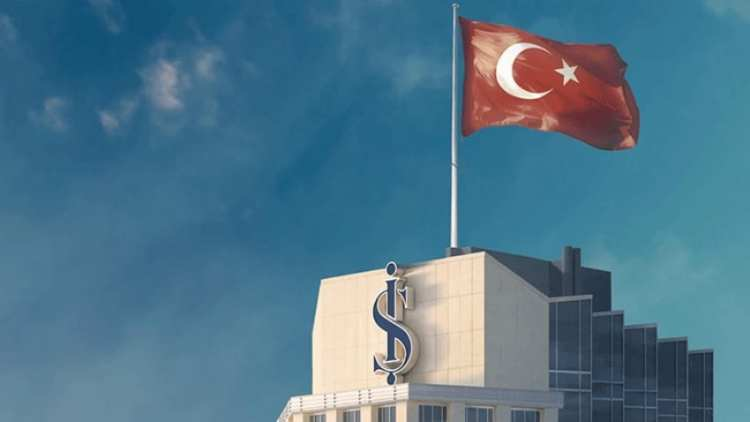 Ish bank on top of the flag of Turkey