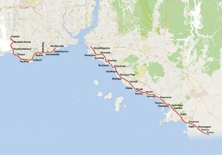 خريطة مترو مرمراي اسطنبول