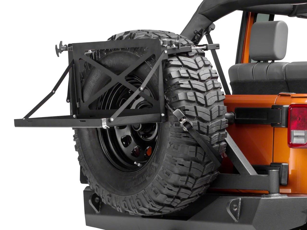 morryde excursion rack for spare tire 87 18 jeep wrangler yj tj jk