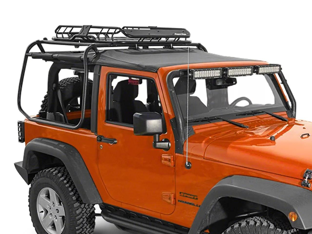 rugged ridge spartacus roof rack basket black 87 20 jeep wrangler yj tj jk jl