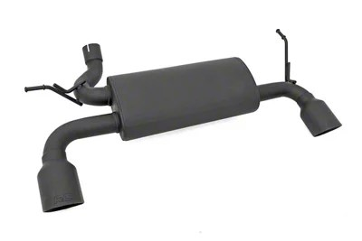 rough country matte black dual outlet performance axle back exhaust 07 18 jeep wrangler jk