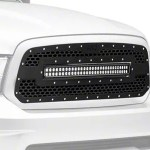 Rough Country Ram Mesh Upper Grille Insert W 30 In Led Light Bar Black 70199 13 18 Ram 1500 Excluding Limited Rebel