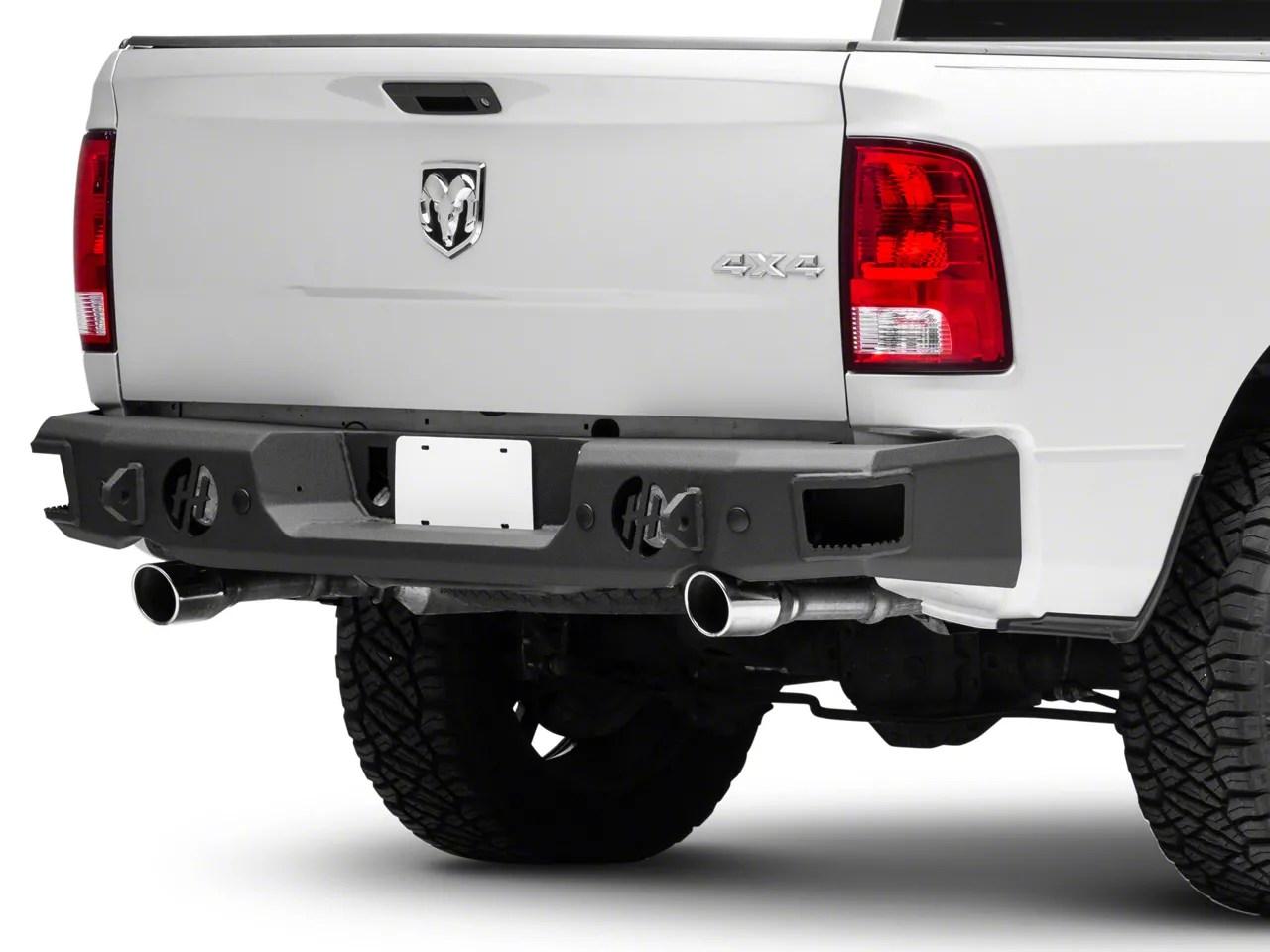 hammerhead rear bumper with round reverse light cutouts 09 18 ram 1500 w factory dual exhaust