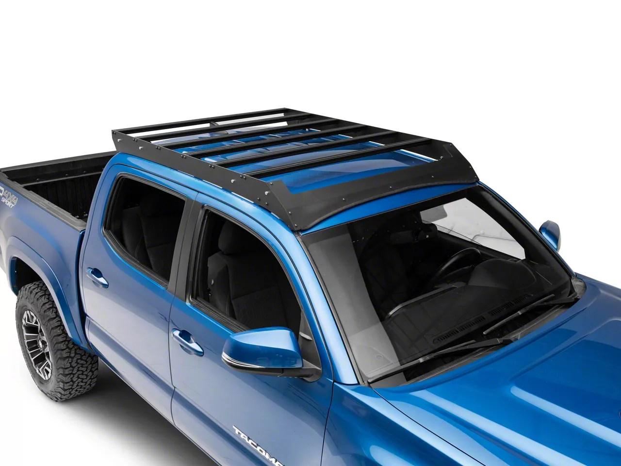 cali raised led economy roof rack with led light bar cutout 05 21 tacoma double cab