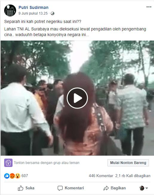 [SALAH] Lahan TNI AL Surabaya mau dieksekusi lewat pengadilan oleh pengembang cina