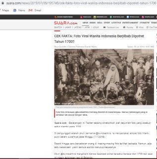 """[SALAH] """"Foto para perempuan Indonesia berhijab sekitar tahun 1700"""""""