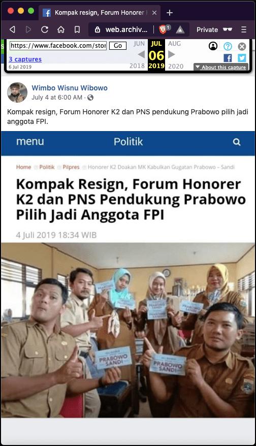 """[SALAH] """"Kompak Resign, Forum Honorer K2 dan PNS Pendukung Prabowo Pilih Jadi Anggota FPI"""""""