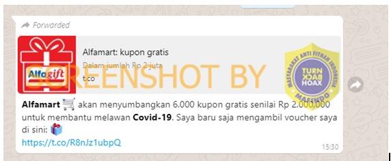 [SALAH] Alfamart Menyumbangkan 6000 Kupon Untuk Membantu Melawan COVID-19