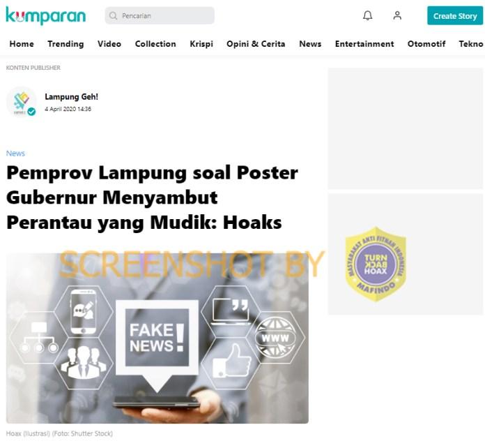 """[SALAH] Poster Gubernur Lampung """"Hari Kamis, Tgl 7 April 2020 Kami Menutup Akses Masuk Gerbang Bakauheni"""""""