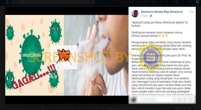 [SALAH] Merokok Menghadang Virus Corona Masuk Ke Paru-Paru
