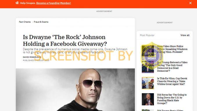 "[SALAH] Dwayne Johnson ""The Rock"" Bagikan Uang Bantuan Corona Kepada 10.000 Pengguna Facebook"