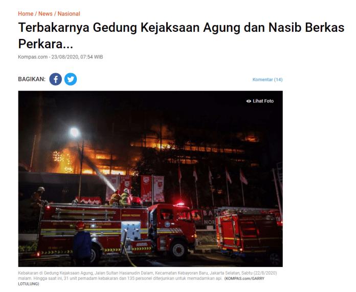 """[SALAH] """"gedung Kejaksaan Agung terbakar, LBP minta 'pemutihan' bagi koruptor"""""""