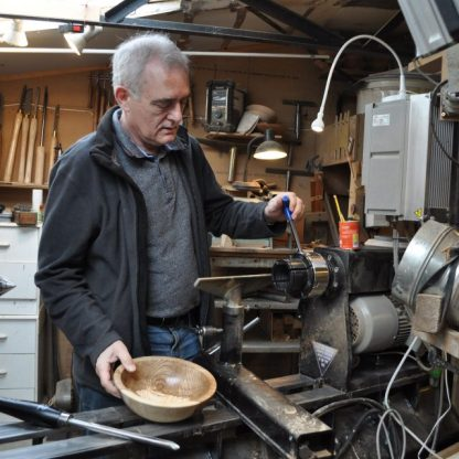Terry Vaughan at the lathe