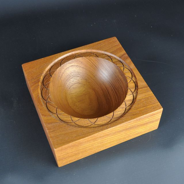 Ornamented Teak Bowl