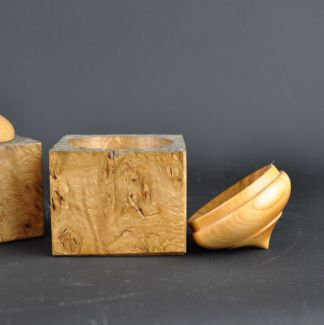 wooden box in burr oak and cherry