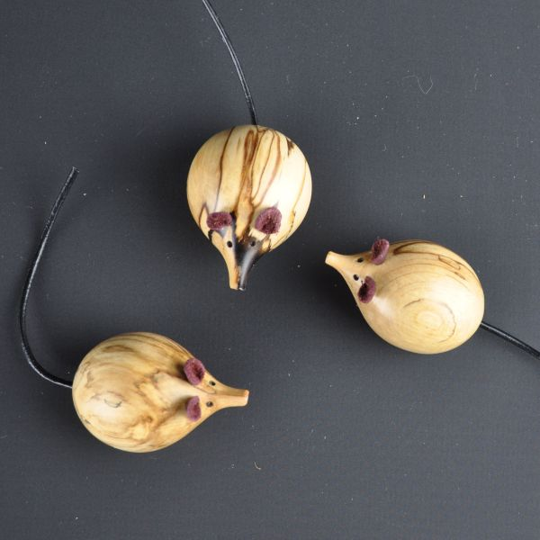 wooden mice made of spalted hornbeam