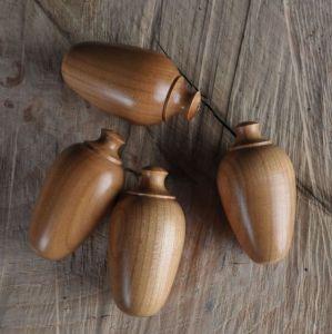 Handmade wooden cord pulls