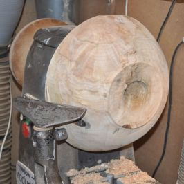 sycamore bowl on lathe