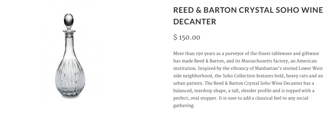 A product description with SEO, for a wine decanter, written for the Decanter and Cask website.