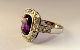 Platinum, Amethyst & Diamond Ring