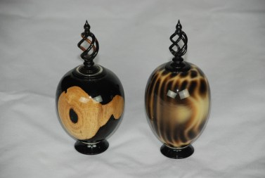 Blackwood and Alternative Ivory with blackwood finials.