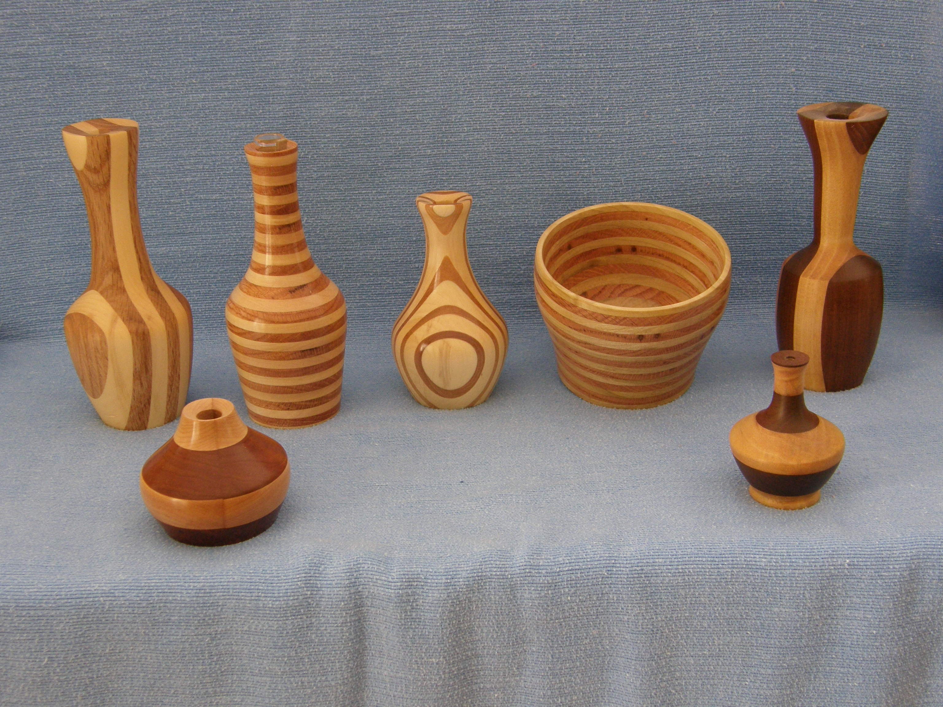 Striped collection.  Dark woods are red oak and black walnut.  Light woods are maple, aspen, and yellow poplar.