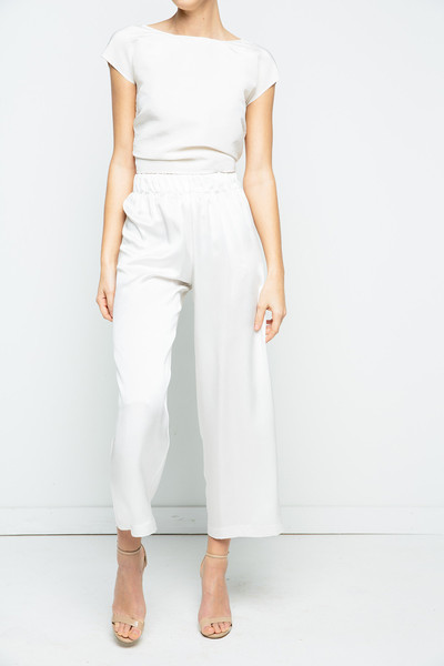 Elizabeth Suzann, a Nashville-based designer, offers her Florence pant in washed silk crepe-back satin for $365 for brides