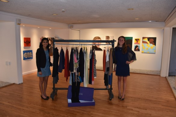 Sima (left) and Maggie (right) with the collected donations for Dress for Success