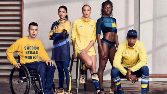 Swedish athletes Tomas Hjert, from left, Stephanie Ydström, Sara Sjöström, Khaddi Sagnia and Simon Sjödin model pieces designed by H&M for Team Sweden. (H&M)