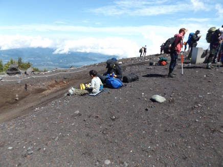 A few people chose to picnic at the 6th station on Mt. Fuji.