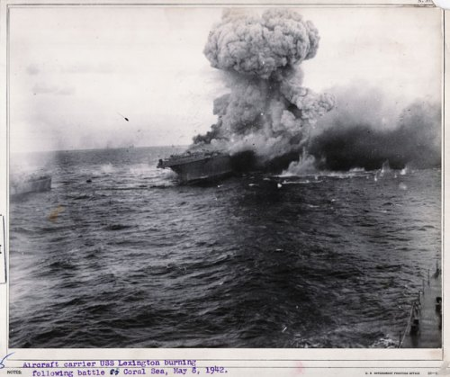Lexington burning fiercely after the Japanese attack.