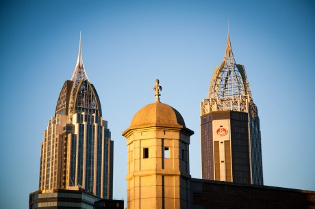A tower at Fort Conde and other buildings of the Mobile, Alabama skyline