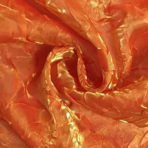 Pipe Pocket Citrus Orange Crushed Sheer Sample Swatch For Turn of Events Rental Drapery Las Vegas