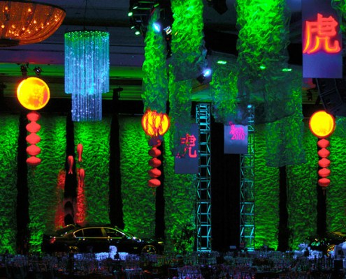Satured Lit Metal Mesh With Gobo Projection Panels