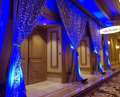 Silver Satin Drapery with Tear Drop Bead Overlay From Turn of Events Las Vegas Rental Drapery
