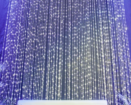 Silver Tear Drop Beading Panels as a Rental from Turn of Events Las Vegas