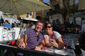 At a very expensive bar in the centre of Sintra!