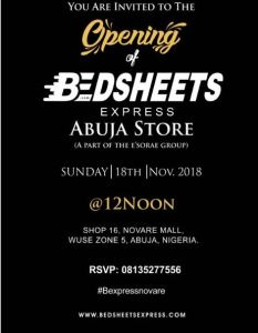 Bedsheets Express opening