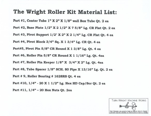 Rollers Material List copy