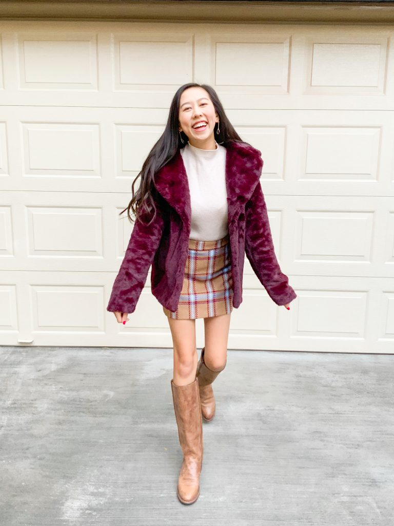 faux fur coat outfit for thanksgiving