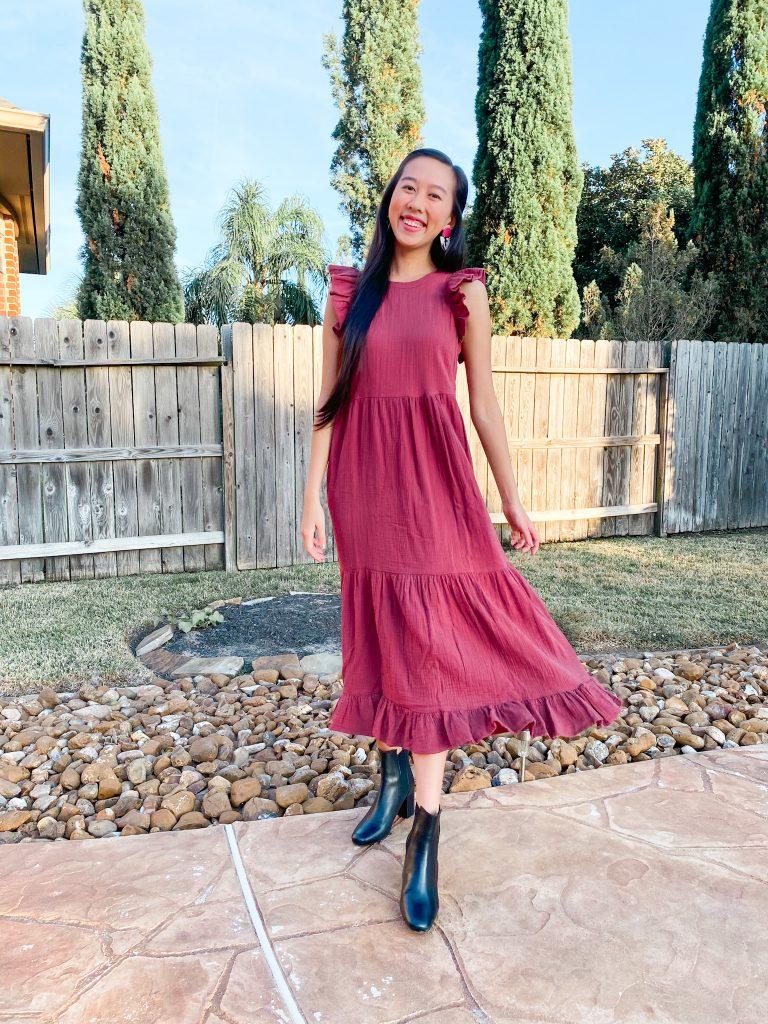 babydoll ruffle midi dress for thanksgiving