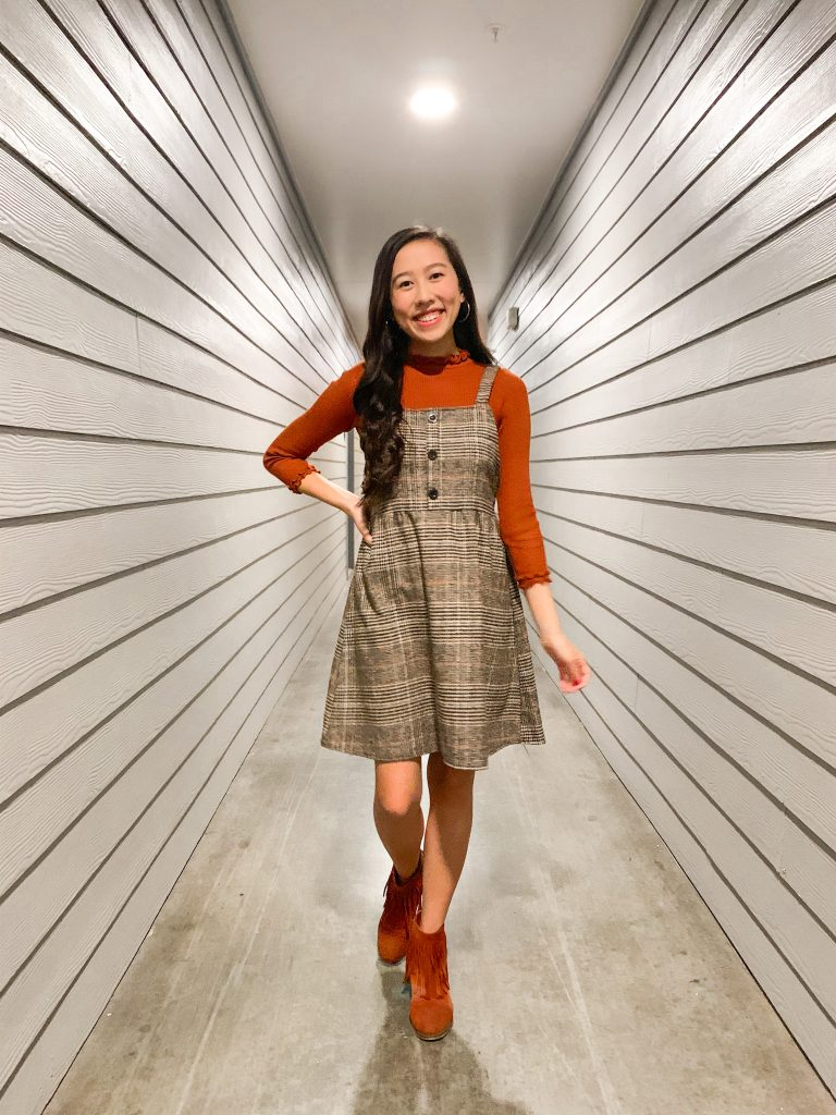 plaid overall dress outfit