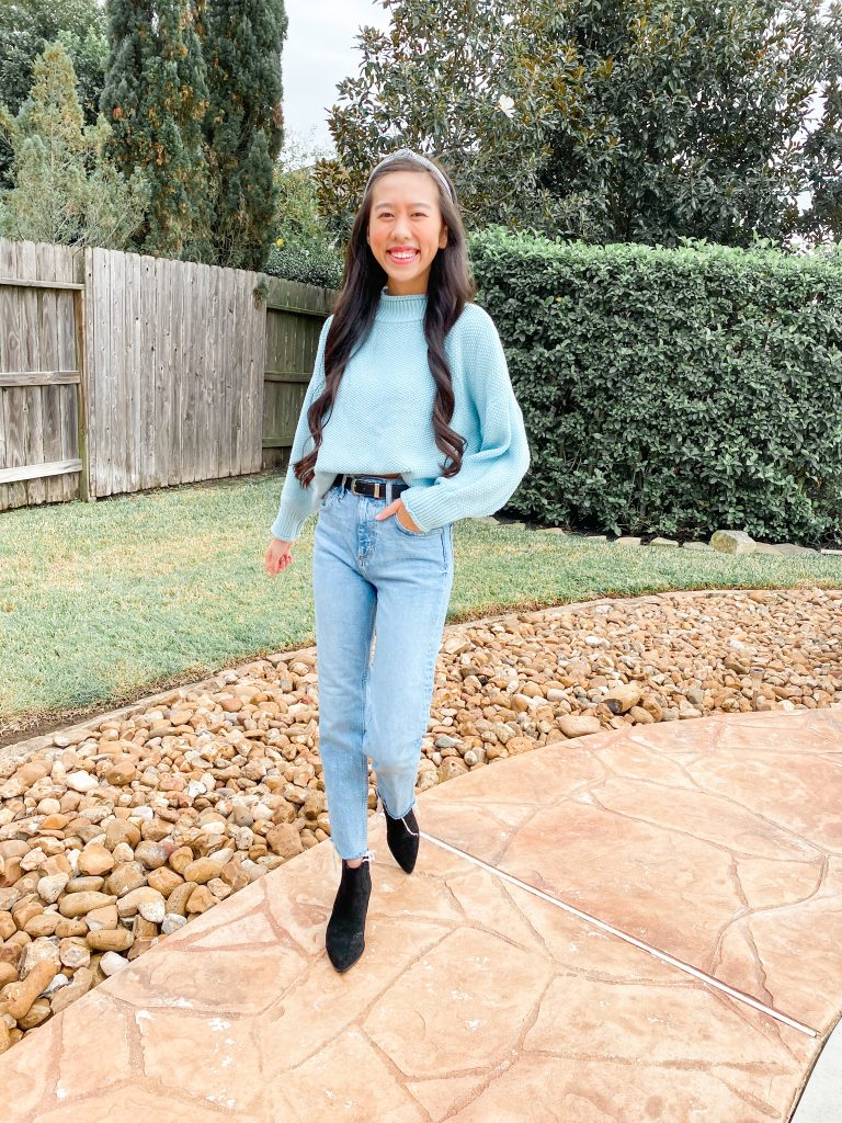 blue sweater outfit